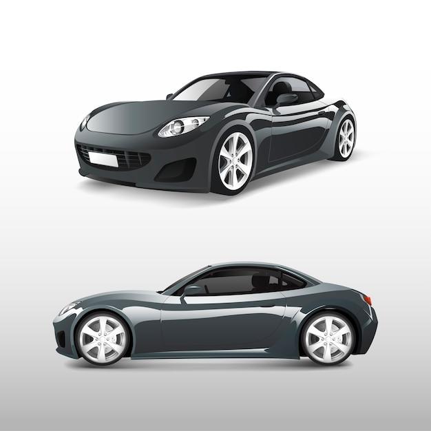 Graues sportauto lokalisiert auf weißem vektor Kostenlosen Vektoren