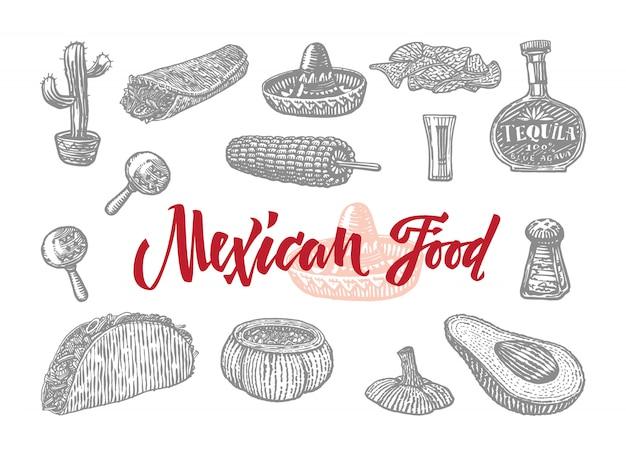 Graviertes set mit mexikanischem essen Kostenlosen Vektoren