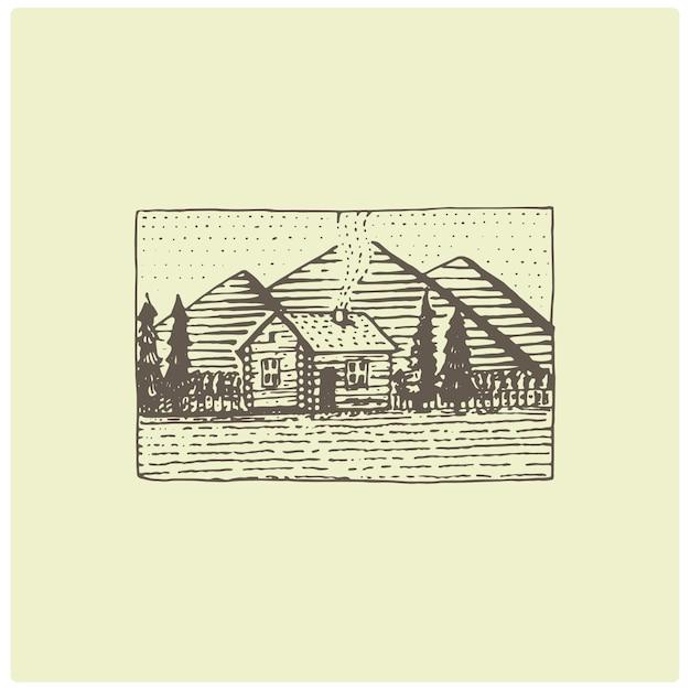 Graviertes vintage-logo mit bergen in der hand gezeichnet, skizzenart, alt aussehendes retro-abzeichen für nationalparks und camping-, alpen- und wanderthema Premium Vektoren