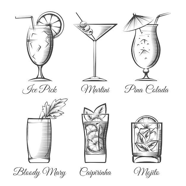 Gravur cocktails vektor Premium Vektoren