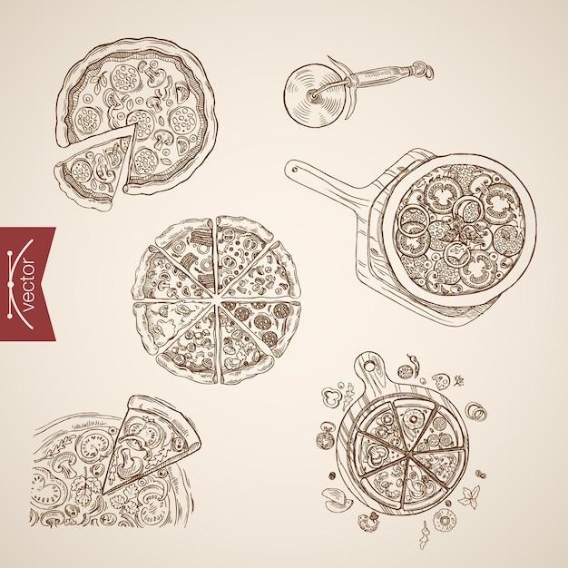 Gravur vintage handgezeichnete pizza bbq, margherita, veronese, napoletana sammlung. bleistiftskizze lebensmittelillustration. Kostenlosen Vektoren