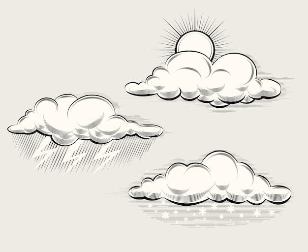 Gravurwetter. sonne hinter einer wolke, regen, schnee und blitz und sturm. vektorillustration Kostenlosen Vektoren