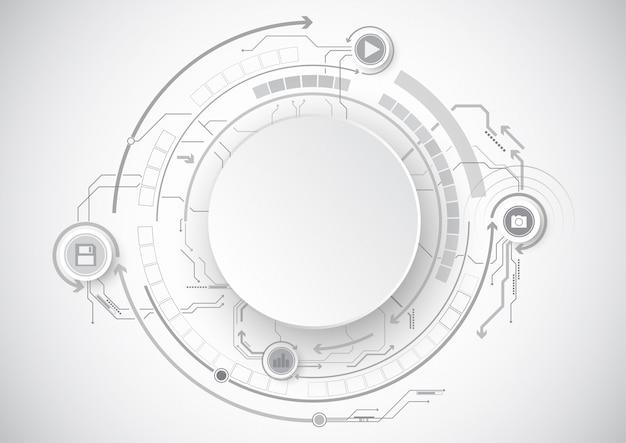Gray circle circuit icon technologie Premium Vektoren
