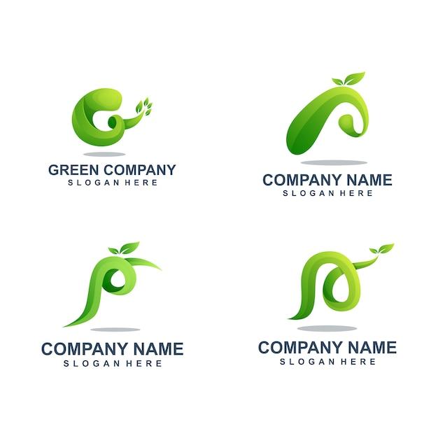 Green leaf logo vorlagensatz Premium Vektoren