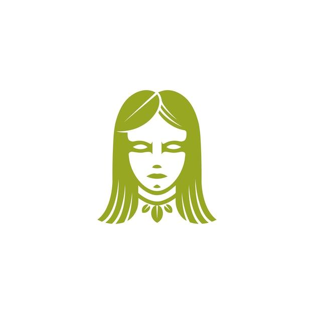 Green leaf woman face logo vorlage Premium Vektoren