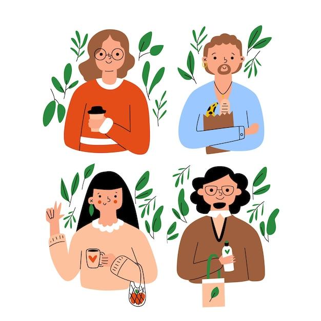 Green lifestyle menschen Kostenlosen Vektoren