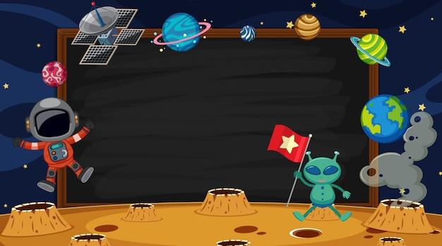 Grenzschablone mit astronauten im raumhintergrund Premium Vektoren