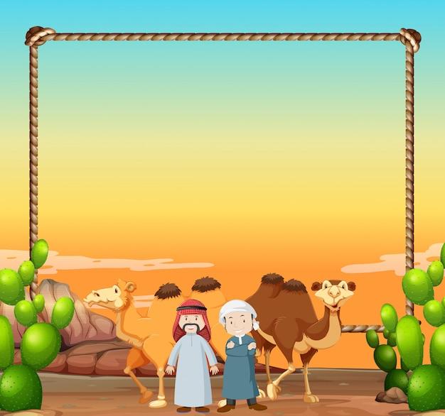 Grenzschablone mit kamelen und arabischen männern Kostenlosen Vektoren