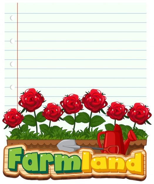 Grenzschablonendesign mit roten rosen im garten Kostenlosen Vektoren