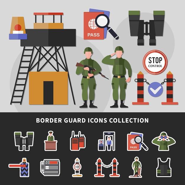 Grenzschutz icons collection Kostenlosen Vektoren