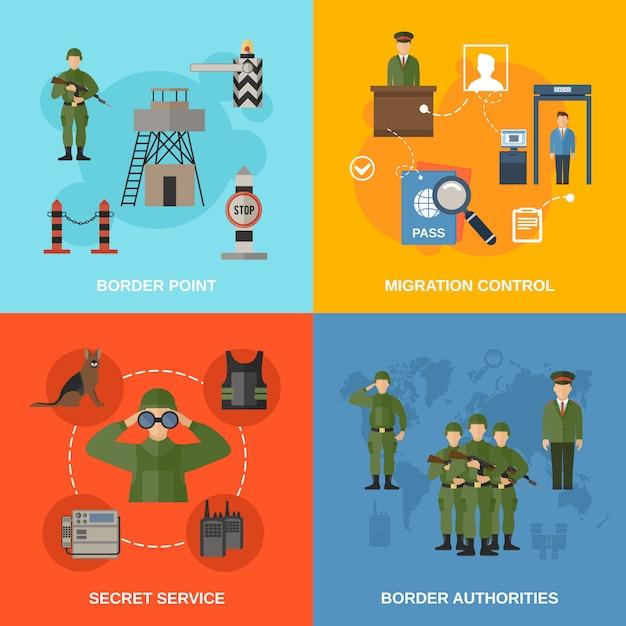Grenzschutzcharakter und elementzusammensetzung illustrationflat Kostenlosen Vektoren