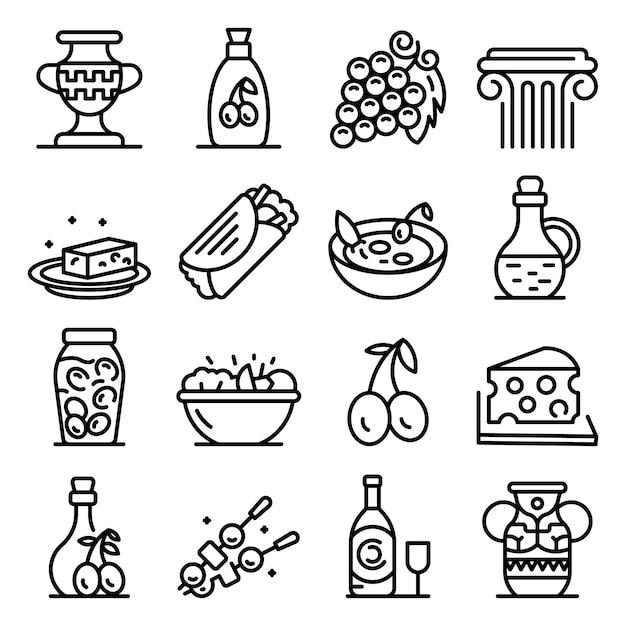 Griechische kücheikonen eingestellt, entwurfsart Premium Vektoren