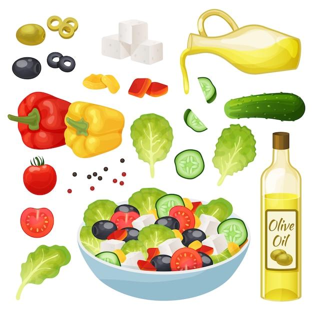 Griechische salatillustration, 3d karikaturgesundes nahrungsmittelmenübestandteile, kochendes vegetarisches mittagsset lokalisiert auf weiß Premium Vektoren