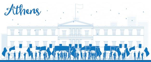 Griechischer protest vor dem griechischen parlament in athen, griechenland Premium Vektoren