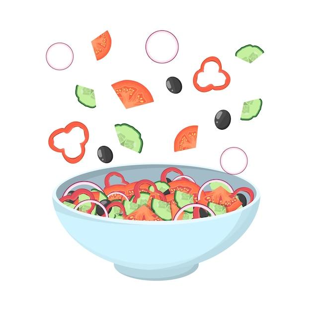 Griechischer salat in einer schüssel. bio gesunde lebensmittel. gurke und tomate, feta-käse und pfeffer mit salz und oregano. zutaten eingestellt. illustration Premium Vektoren
