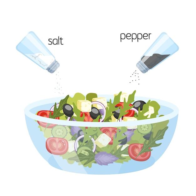 Griechischer salat in einer schüssel. bio gesunde lebensmittel. gurke und tomate, feta und pfeffer mit salz. illustration Premium Vektoren