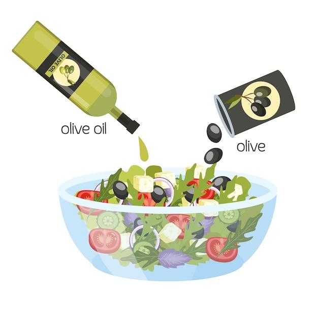 Griechischer salat in einer schüssel. bio gesunde lebensmittel mit olivenöl. gurke und tomate, feta-käse und pfeffer. illustration Premium Vektoren