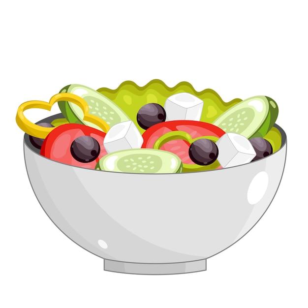 Griechischer salat mit frischem gemüse Premium Vektoren