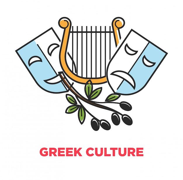 Griechisches kultur-promoplakat mit alten theatersymbolen und oliven Premium Vektoren