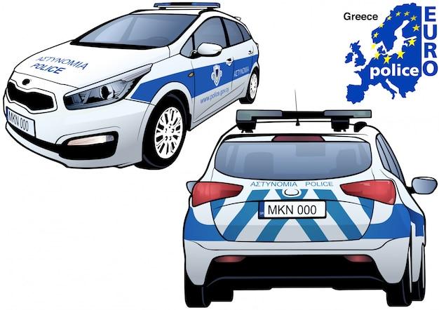 Griechisches polizeiauto Premium Vektoren