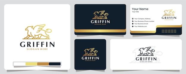 Griffin, adler, flügel, löwe, goldfarbe, banner, visitenkarte und logo-design Premium Vektoren