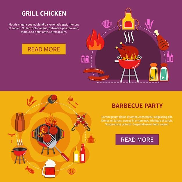 Grill chiken auf grillpartyebene Kostenlosen Vektoren