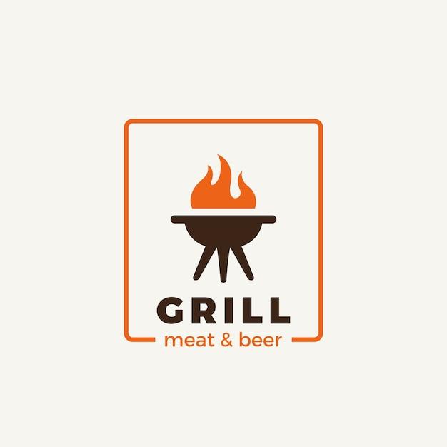 Grill fleisch restaurant logo isoliert auf weiß Premium Vektoren