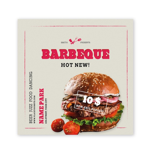Grill flyer platz mit burger Premium Vektoren