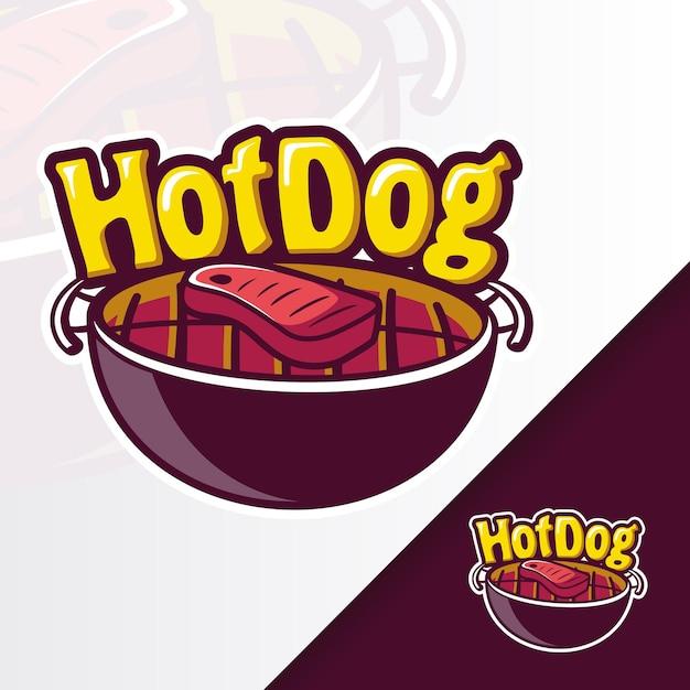 Grill hotdog pan bbq maskottchen logo Premium Vektoren