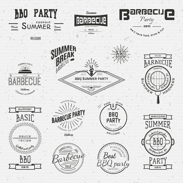 Grill logos logos und etiketten für jede verwendung Premium Vektoren