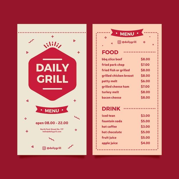 Grill menüvorlage für restaurant Kostenlosen Vektoren