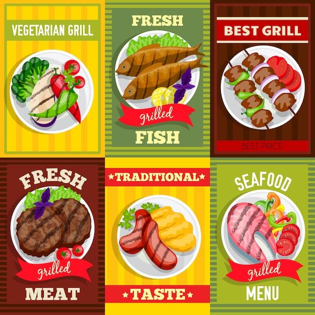 Grill mini poster set Premium Vektoren