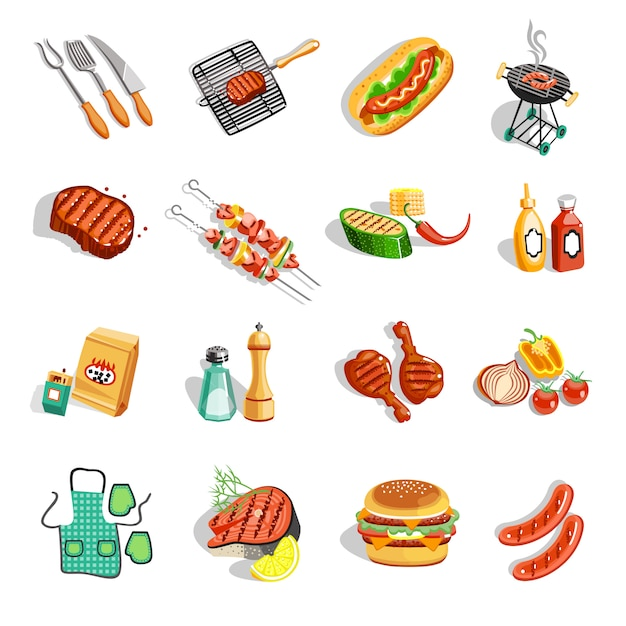 Grill-nahrungsmittelzubehör-flache ikonen eingestellt Kostenlosen Vektoren
