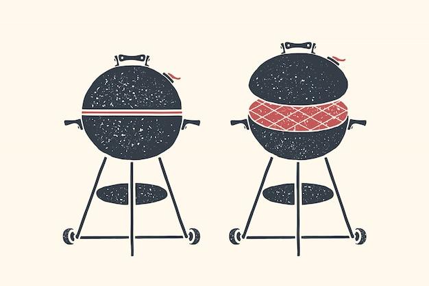 Grill. poster grill, grill, grillwerkzeuge Premium Vektoren