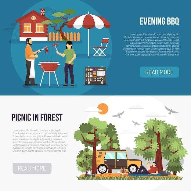Grill- und picknick-banner Kostenlosen Vektoren