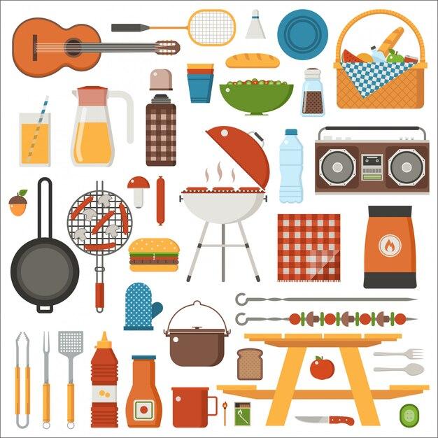 Grill- und picknick-set. familienausflug wochenendkollektion mit grill, picknickspielen und grillwerkzeugen. Premium Vektoren