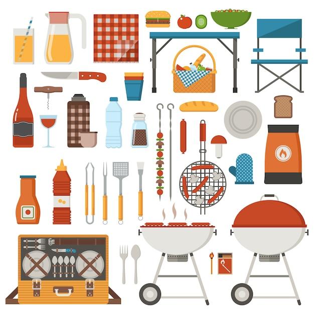 Grill- und picknickelemente eingestellt. familienwochenendkollektion mit grill, grillutensilien, grillgut und grillutensilien. Premium Vektoren