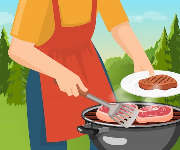 Grillkonzept kochen Kostenlosen Vektoren