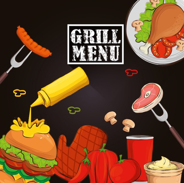 Grillmenü mit hamburger und leckerem essen Premium Vektoren