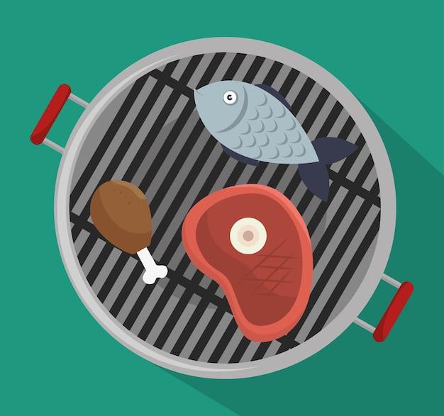 Grillmenü rindfleisch design isoliert Premium Vektoren