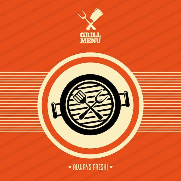 Grillmenü über orange hintergrundvektorillustration Premium Vektoren