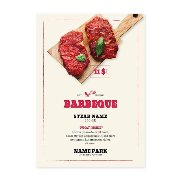 Grillpicknick mit fleisch auf schneidebrettplakat Premium Vektoren