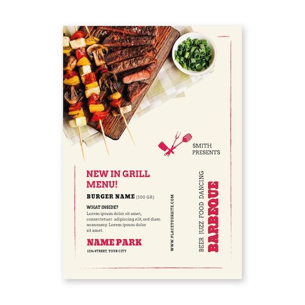 Grillpicknickfleisch auf spießplakat Kostenlosen Vektoren