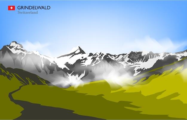 Grindelwald schweiz Premium Vektoren