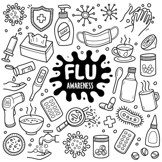 Grippe-schwarzweiss-gekritzel-illustration. Premium Vektoren