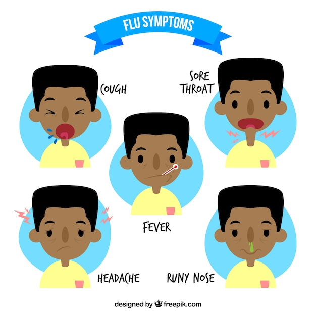 Grippe-Symptome packen Kostenlose Vektoren