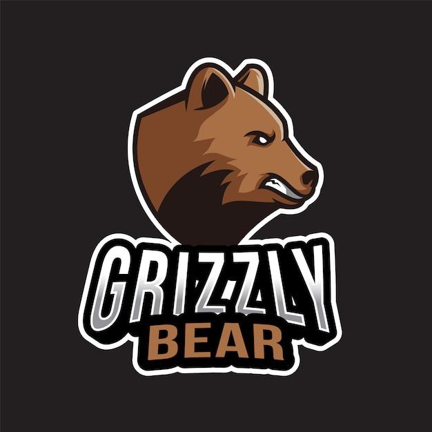 Grizzlybär logo vorlage Premium Vektoren