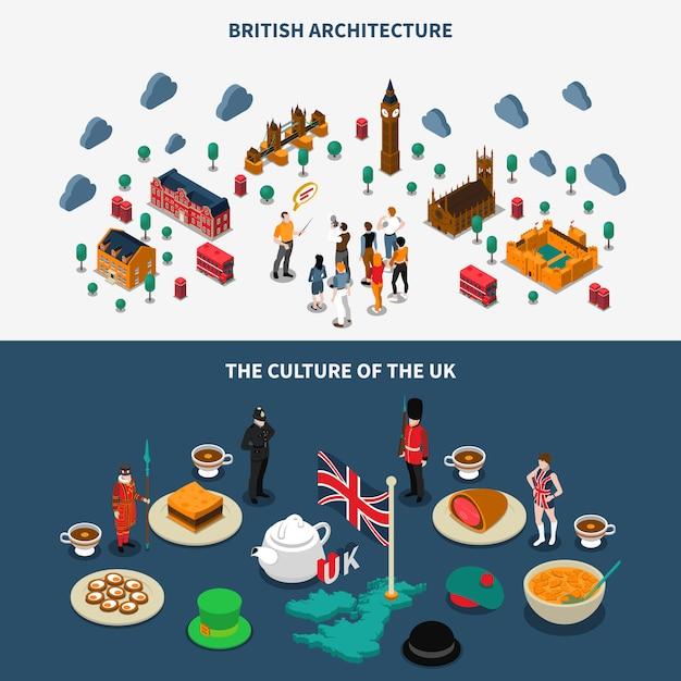 Großbritannien banner set Kostenlosen Vektoren