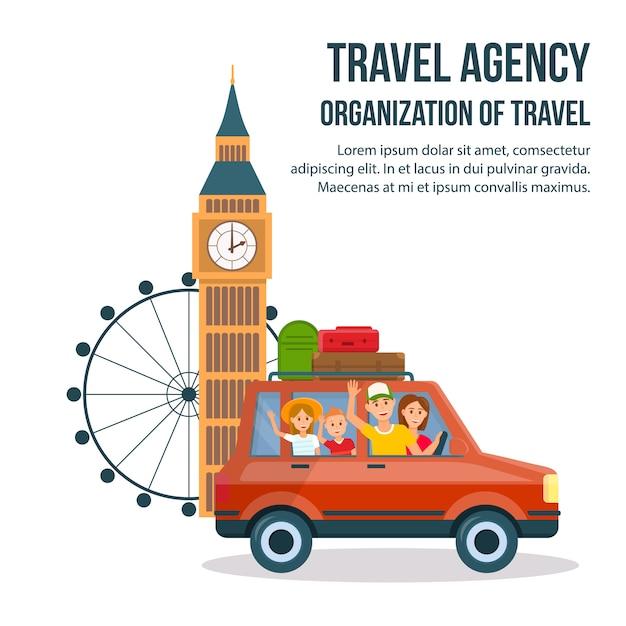Großbritannien-sightseeing-tour-cartoon-plakat. Premium Vektoren