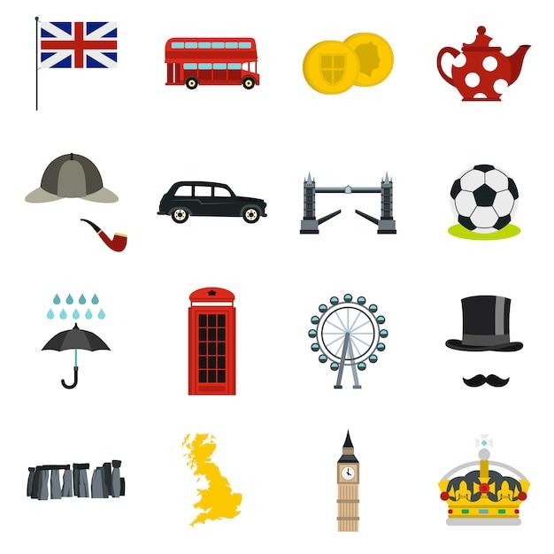 Großbritannien symbole inmitten einer flachen stil Premium Vektoren